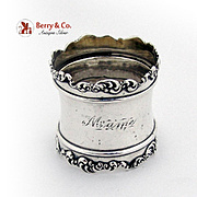 Art Nouveau Ornate Scroll Napkin Ring Wallace Sterling Silver 1900