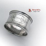 Antique Napkin Ring Applied Rims Coin Silver 1860 Monogram