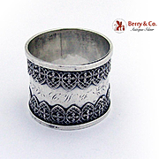 Ornate Napkin Ring Unusual Applied Decorations Sterling Silver 1930 Mono