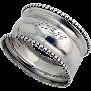 Beaded Napkin Ring Frank M Whiting Sterling Silver 1930 Monogram