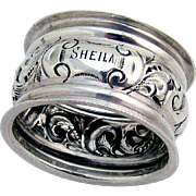English Ornate Scroll Napkin Ring Sterling Silver 1904 Birmingham