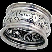 English Ornate Scroll Napkin Ring Sterling Silver 1904 Birmingham