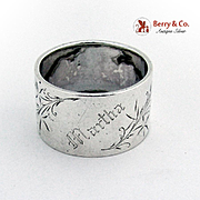 Aesthetic Engraved Floral Napkin Ring Gorham Sterling Silver