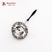 Cherry Blossom Tea Strainer Wooden Handle Sterling Silver 1900