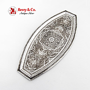 Persian Ornately Chased Engraved Oval Cut End Tray 84 Standard Silver