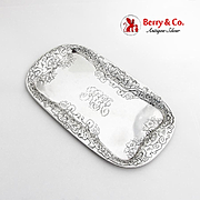 Floral Scroll Acid Etched Dresser Tray Gorham Sterling Silver 1909 Date Mark Mono