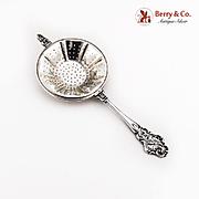 Camusso Peruvian Tea Strainer Ornate Handle Sterling Silver