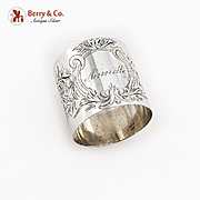 Wide Engraved Napkin Ring Heavy Weight A Stowell Co Sterling Silver