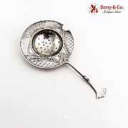 Vintage Engraved Tea Strainer Russian 84 Standard Silver 1900
