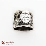 Wide Floral Napkin Ring Jakob Grimminger 800 Standard Silver Germany