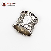 Wide Engraved Napkin Ring Beaded Rims Atkin Bros Sterling Silver 1889 Sheffield