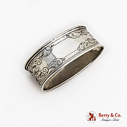 Vintage Bright Cut Engraved Oval Napkin Ring Sterling Silver 1920