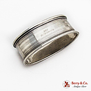 Art Deco Oval Napkin Ring Sterling Silver 1930
