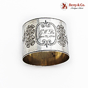 Bright Cut Engraved Floral Napkin Ring Sterling Silver 1900