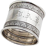 Ornate Napkin Ring Gorham Sterling Silver 1881 Date Mark Monogram
