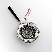 Poppy Tea Strainer Hexagonal Wooden Handle Sterling Silver 1900