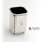 Stippled Surface Toothpick Holder Ball Feet Chinese Export Silver 1910