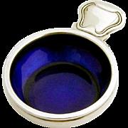 Old Danish Salt Dish Blue Enamel Georg Jensen Sterling Silver Denmark
