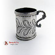 Engraved Large Shot Cup Reverse Scroll Handle Spanish Colonial Silver 1820