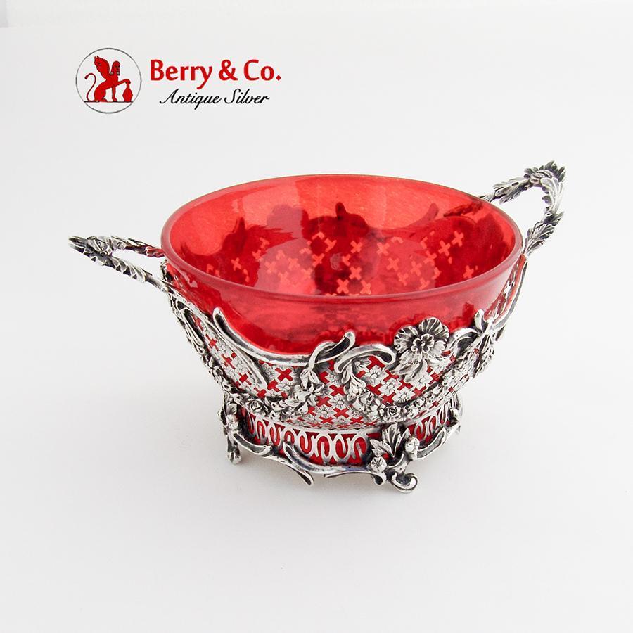 Ornate Cut Work Serving Bowl Ruby Glass Insert Dutch 833 Standard Silver 1900