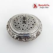 Persian Repousse Centerpiece Flower Bowl Ornate Pierced Lid 900 Silver 1920