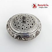 Persian Repousse Centerpiece Flower Bowl Ornate Pierced Lid 900 Silver 1920
