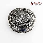 Persian Ornate Round Table Box 84 Standard Silver Late 19th Early 20th Century