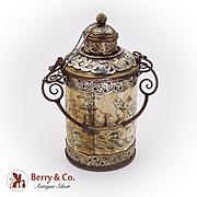 Antique Asian Tea Caddy Scrimshaw Decorations Copper Brass 1900