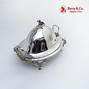 Figural Covered Butter Dish Bull Heads Sphinx Finial Gorham Silverplate 1870