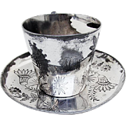 Lotus Engraved Moustache Cup Saucer Meriden Silver Co Silverplate 1880