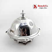 Industrial Design Covered Butter Dish Vanderslice Co Coin Silver 1863 Mono