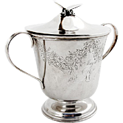 Engraved Floral Covered Cup Gilt Interior Butterfly Finial Vanderslice Co Coin Silver