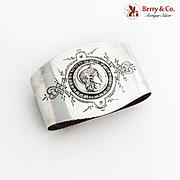 Medallion Oval Napkin Ring Schulz Fischer Coin Silver 1875 Monogram