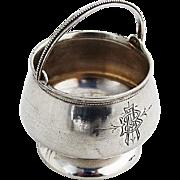 Pot Form Open Salt Bail Handled Beaded Rim Vanderslice Co Coin Silver Mono