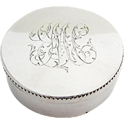 Round Snuff Box Beaded Rim Gilt Interior Vanderslice Co Sterling Silver 1875