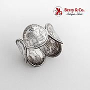 Vintage Hawaiian Silver Coin Napkin Ring Five Coins 1895