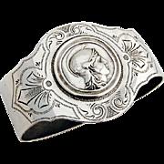 Engraved Medallion Napkin Ring Schulz Fischer Coin Silver 1875