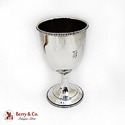 Beaded Rim Goblet Vanderslice Co Coin Silver 1875 San Francisco Monogram