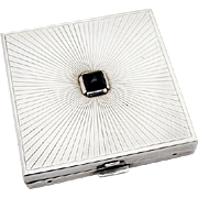Cartier Art Deco Ladies Compact Onyx Cabochon Sterling Silver 1940