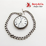 English Pocket Watch With Chain Engraved Case Sterling Silver 1880 Chester