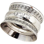 Greek Key Rim Napkin Ring Sterling Silver 1901 Birmingham Monogram