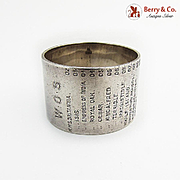 English Naval Service History Napkin Ring Sterling Silver 1910 Sheffield