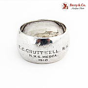 1910 British Warship Registered Nurse Napkin Ring Sterling Silver 1908 Birmingham