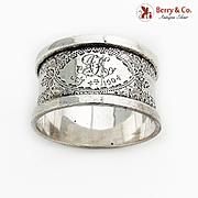 English Engraved Napkin Ring Robert Pringle Sterling Silver 1902 London Mono