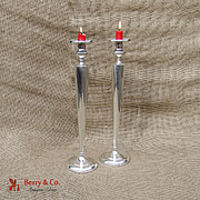 Vintage Tall Candlesticks Pair William R Elfers Co Sterling Silver 1930 NYC