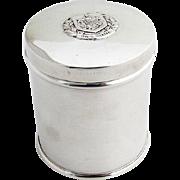English Circular Tea Caddy Applied Plaque Sterling Silver 1960 Birmingham
