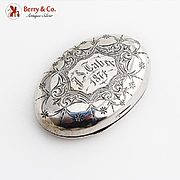 Engraved Oval Snuff Box Tobacco Leaf Depiction Hinged Lid Coin Silver