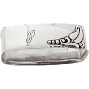 Blossom Napkin Ring Webster Co Sterling Silver 1920 Monogram