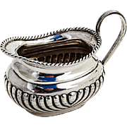 Antique English Fluted Creamer Gadroon Rim Sterling Silver 1897 London