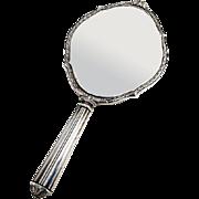 Edwardian Floral Hand Mirror Foliate Rim William B Kerr Sterling Silver